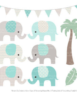 Aqua Patterned Elephant Clipart & Patterns
