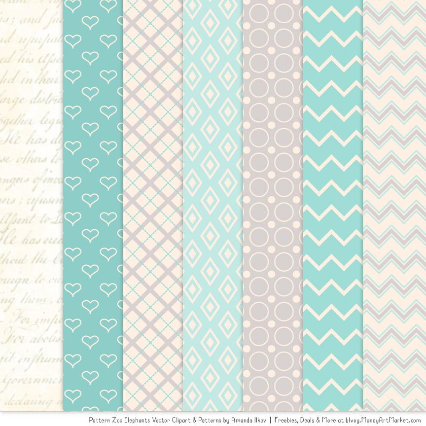 Aqua Patterned Elephant Clipart & Patterns