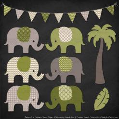 Avocado Patterned Elephant Clipart & Patterns