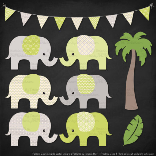 Bamboo Patterned Elephant Clipart & Patterns