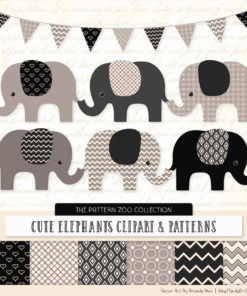 Black Patterned Elephant Clipart & Patterns