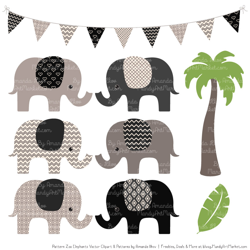 Black Patterned Elephant Clipart & Patterns