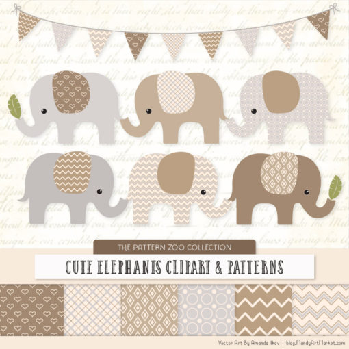 Champagne Patterned Elephant Clipart & Patterns