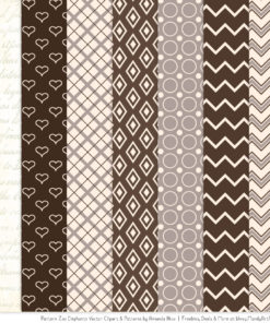 Chocolate Patterned Elephant Clipart & Patterns