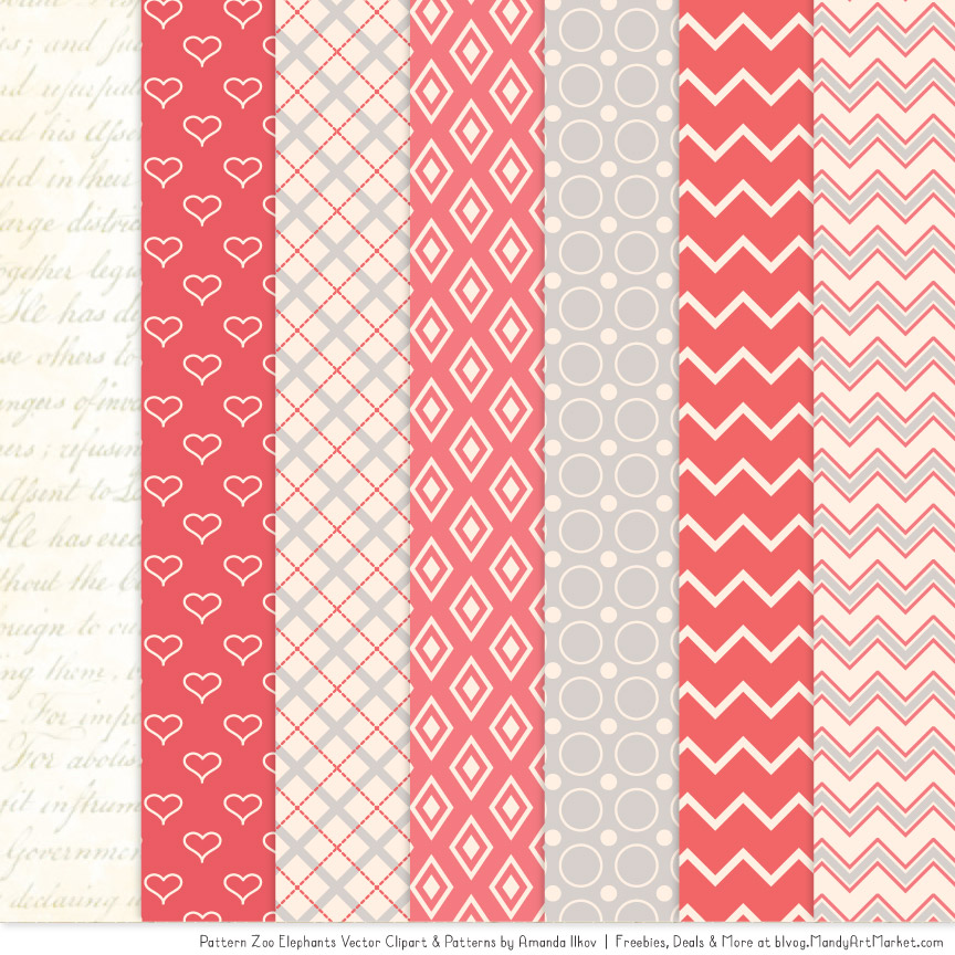 Coral Patterned Elephant Clipart & Patterns