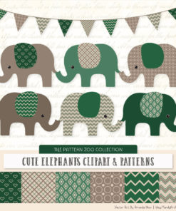 Emerald Patterned Elephant Clipart & Patterns