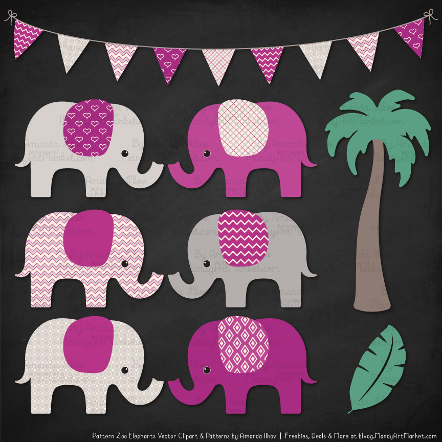 Fuchsia Patterned Elephant Clipart & Patterns