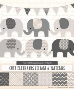 Grey Patterned Elephant Clipart & Patterns