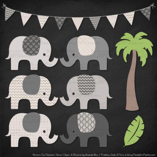 Grey Patterned Elephant Clipart & Patterns