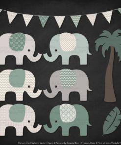 Hemlock Patterned Elephant Clipart & Patterns