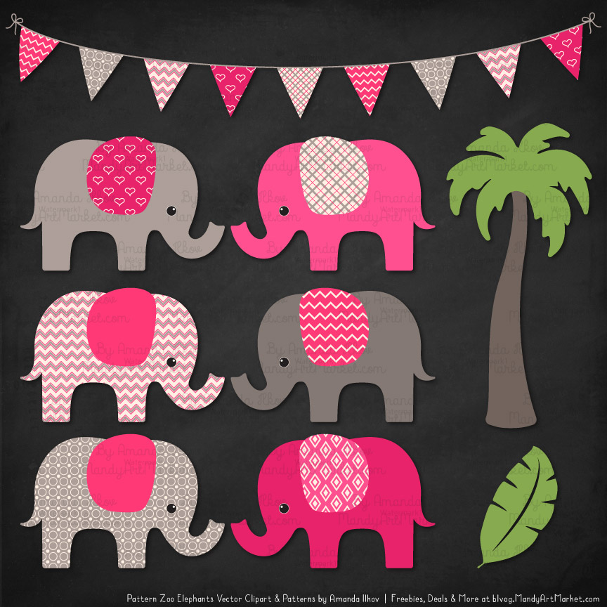 Hot Pink Patterned Elephant Clipart & Patterns