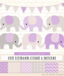Lavender Patterned Elephant Clipart & Patterns
