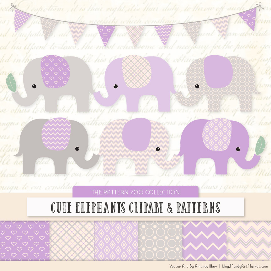 lavender patterned elephant clipart and patterns