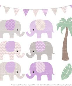Lavender Patterned Elephant Clipart & Patterns