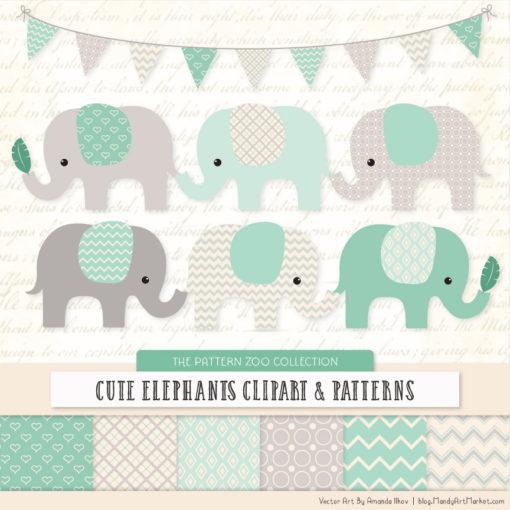 Mint Patterned Elephant Clipart & Patterns