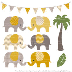 Mustard Patterned Elephant Clipart & Patterns