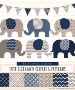 Navy Patterned Elephant Clipart & Patterns