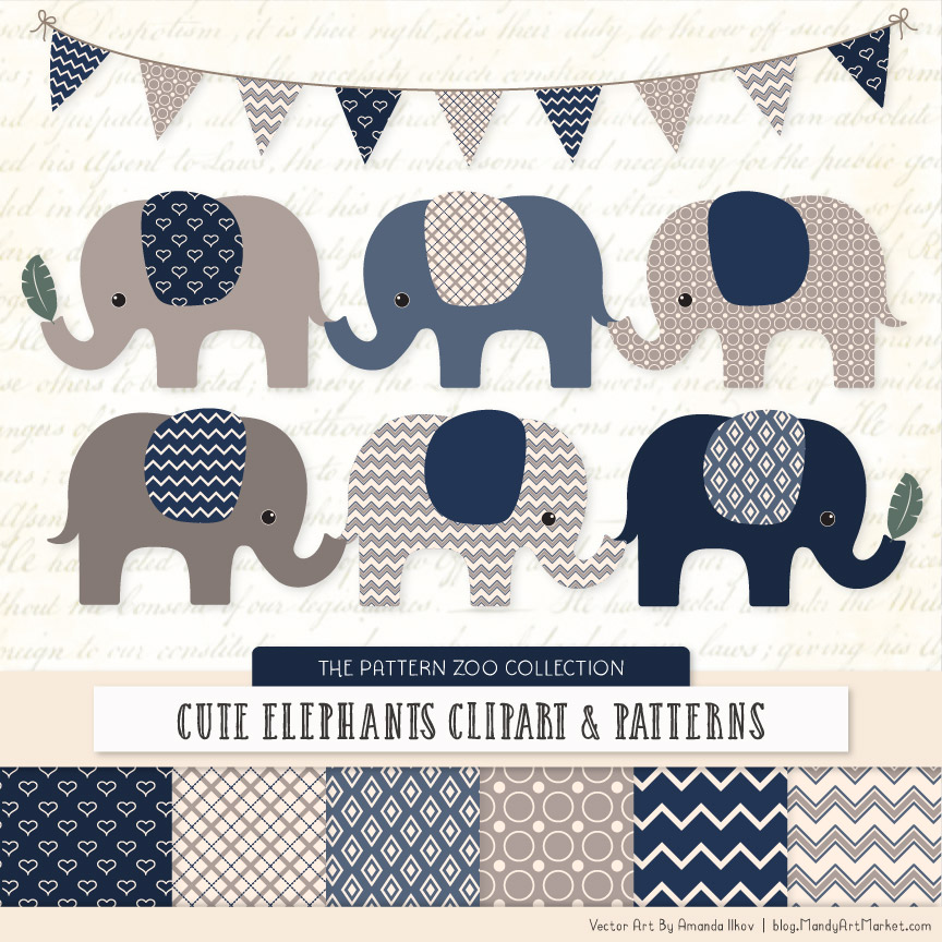 Navy Patterned Elephant Clipart & Patterns