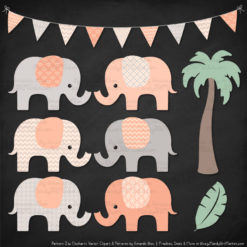 Peach Patterned Elephant Clipart & Patterns