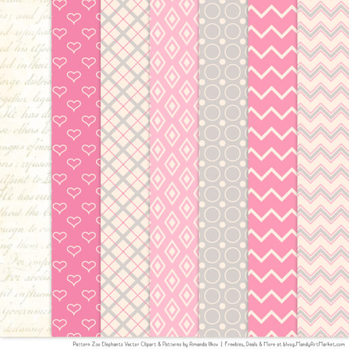 Pink Patterned Elephant Clipart & Patterns