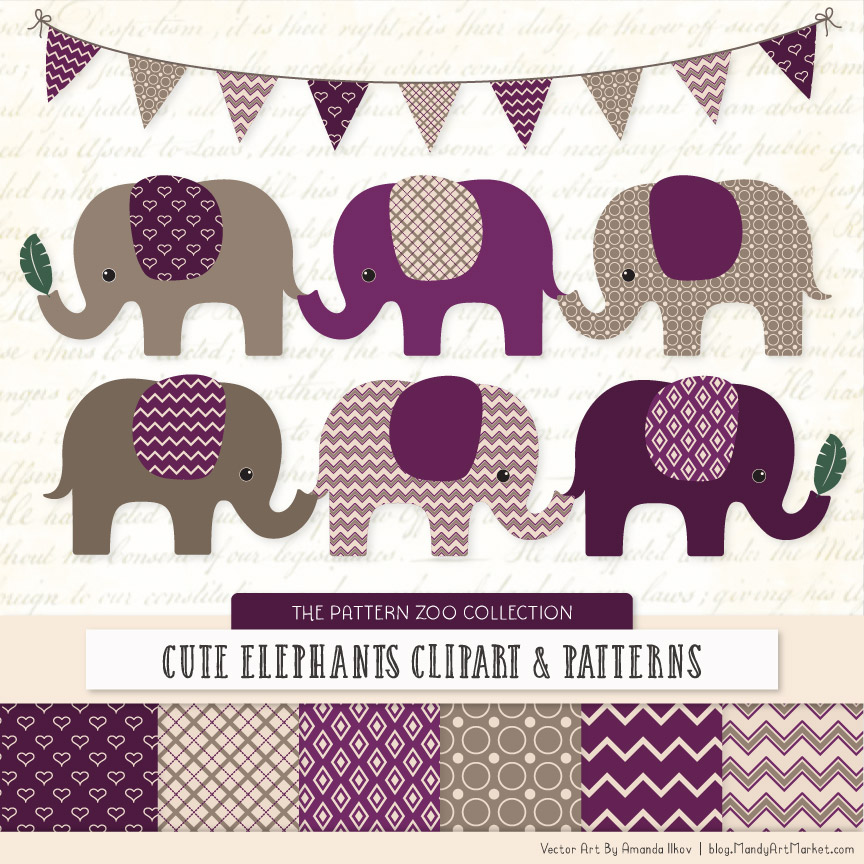 Plum Patterned Elephant Clipart & Patterns