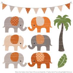 Pumpkin Patterned Elephant Clipart & Patterns