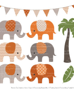 Pumpkin Patterned Elephant Clipart & Patterns