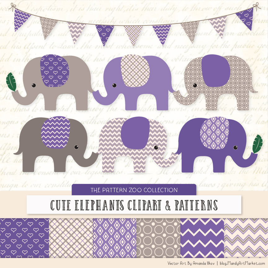 Purple Patterned Elephant Clipart & Patterns