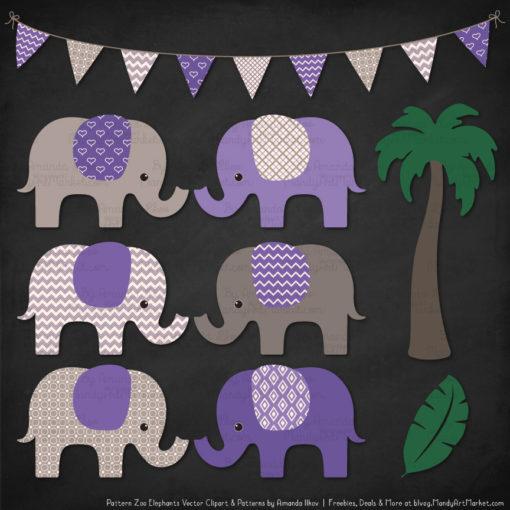 Purple Patterned Elephant Clipart & Patterns