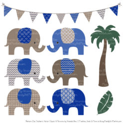 Royal Blue Patterned Elephant Clipart & Patterns