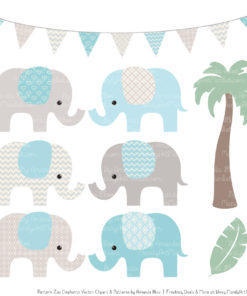 Soft Blue Patterned Elephant Clipart & Patterns