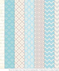 Soft Blue Patterned Elephant Clipart & Patterns
