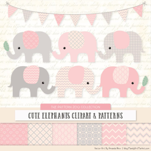 Soft Pink Patterned Elephant Clipart & Patterns