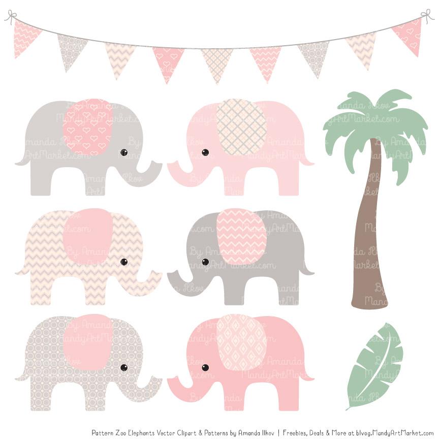Soft Pink Patterned Elephant Clipart & Patterns