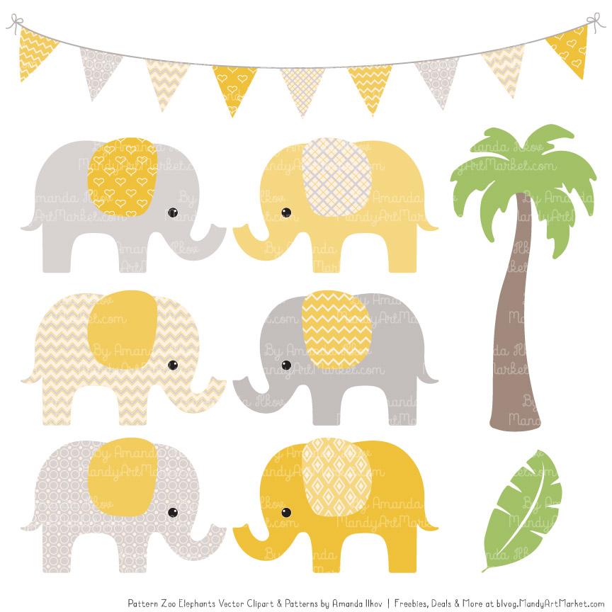 Sunshine Patterned Elephant Clipart & Patterns