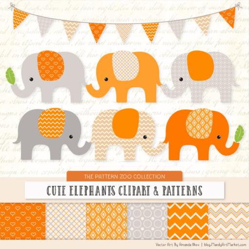 Tangerine Patterned Elephant Clipart & Patterns