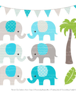 Tropical Blue Patterned Elephant Clipart & Patterns