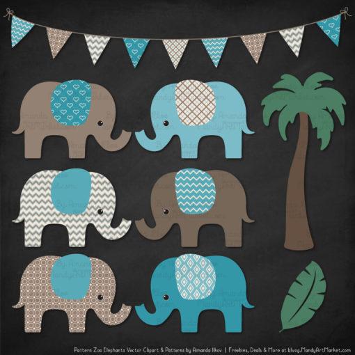 Vintage Blue Patterned Elephant Clipart & Patterns