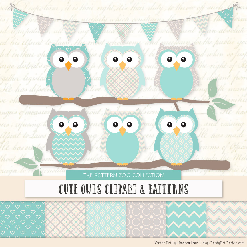Pattern Zoo Aqua Patterned Owl Clipart & Patterns