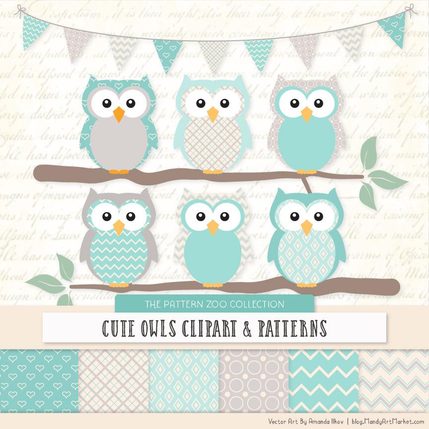 Pattern Zoo Aqua Patterned Owl Clipart & Patterns