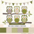 Avocado Patterned Owl Clipart & Patterns