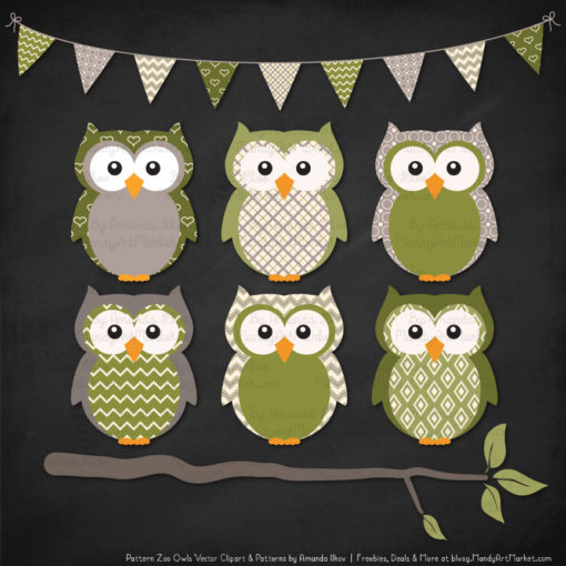 Pattern Zoo Avocado Patterned Owl Clipart & Patterns