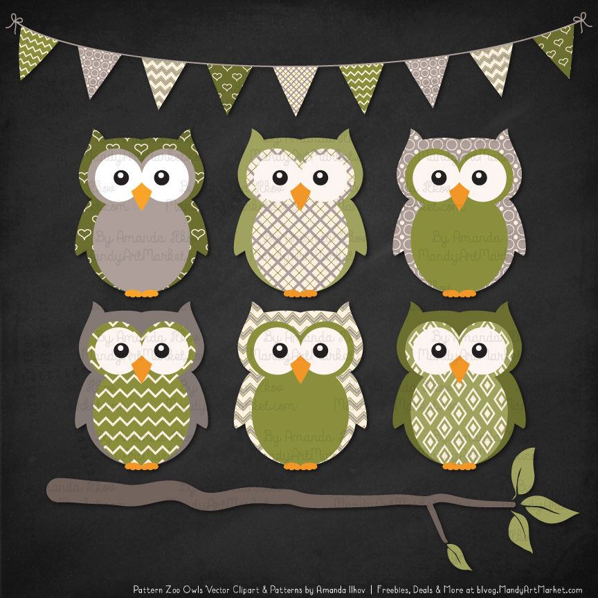 Pattern zoo avocado patterned owl clipart patterns