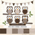 Chocolate Patterned Owl Clipart & Patterns