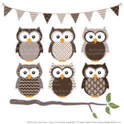 Pattern Zoo Chocolate Patterned Owl Clipart & Patterns