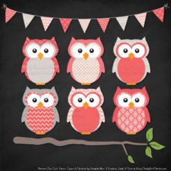 Pattern Zoo Coral Patterned Owl Clipart & Patterns