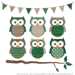 Emerald Patterned Owl Clipart & Patterns