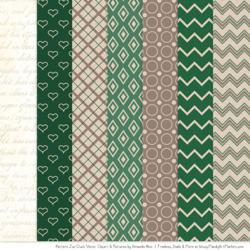 Pattern Zoo Emerald Patterned Owl Clipart & Patterns