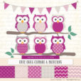 Fuchsia Patterned Owl Clipart & Patterns