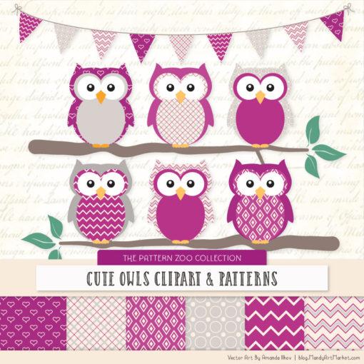 Pattern Zoo Fuchsia Patterned Owl Clipart & Patterns